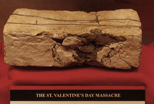 Bullet impacted brick from St Valentine's Day massacre site