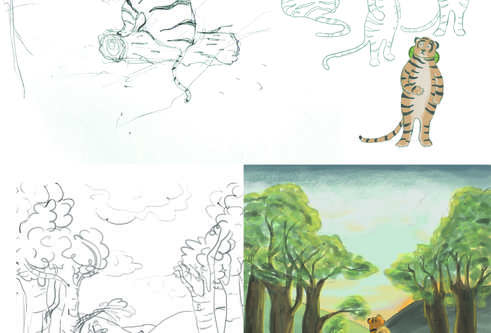 illustrations showing the development of the tiger and how it went from sketches to a full colour drawing