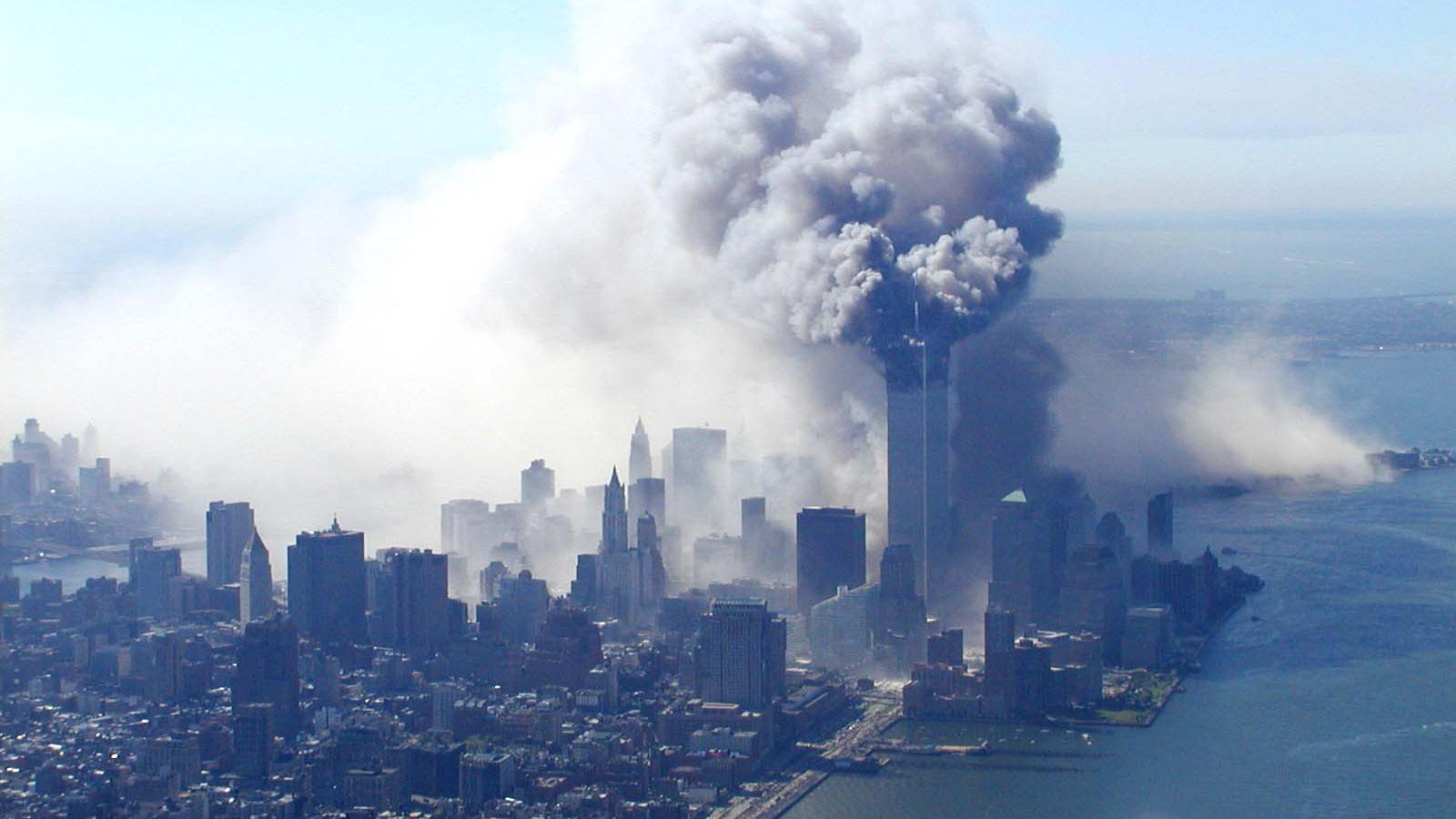 A photograph of the World Trade Centre attack