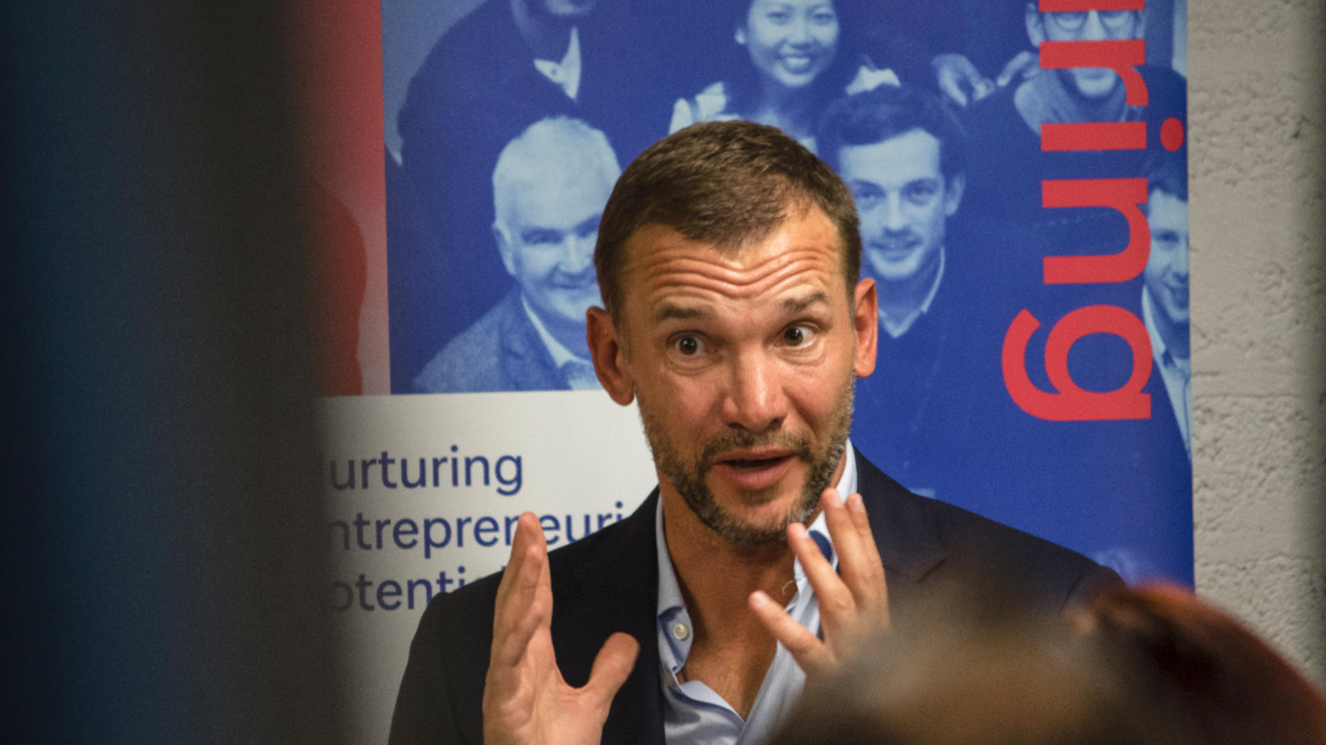 Andrii Shevchenko taking part in Q&A session