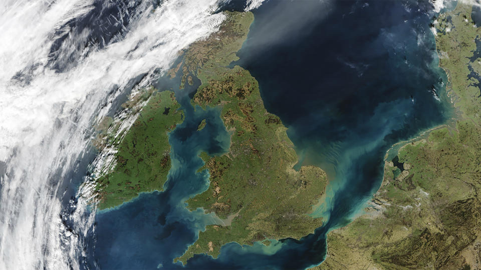 A satellite image of the earth from space, centred on the UK