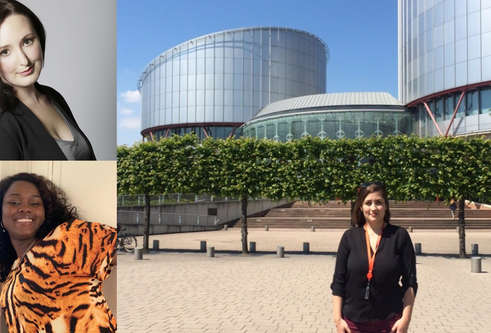 Photograph of Caroline Cotta in front of European Union buildings in Strasbourg. Berenice Lemoine and Tracy Leli inset to left.