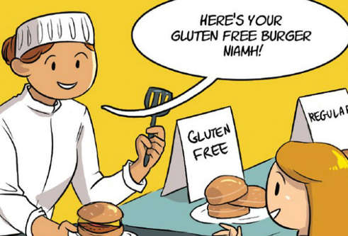A panel from a comic strip with a server giving a young women a gluten-free burger