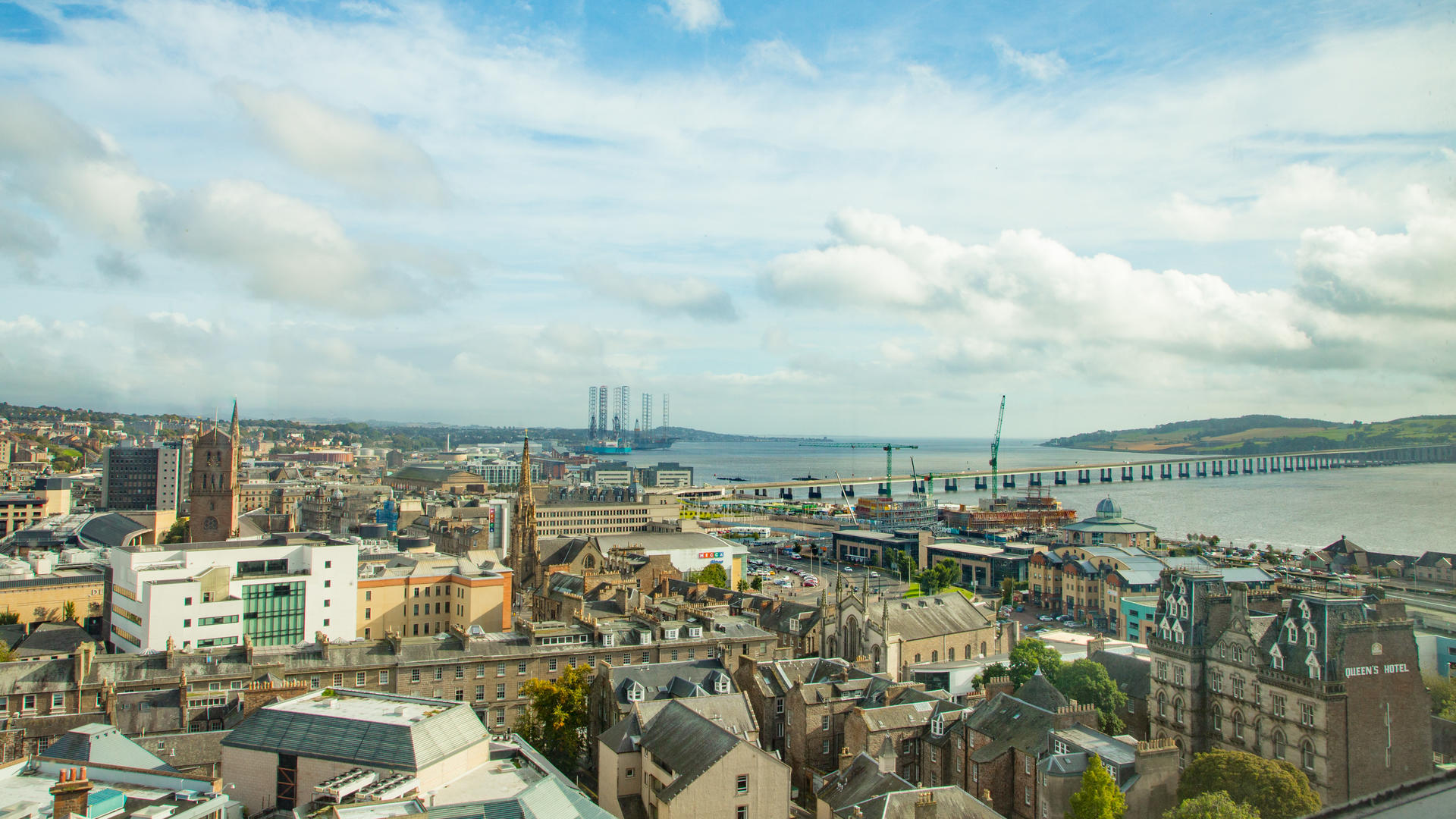 A view of Dundee City Centre from the roof of the University's Tower Building
