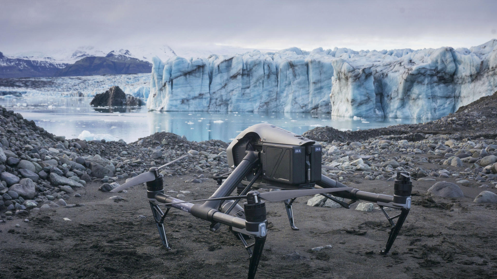 Photo of a drone on the ground at Breiðamerkurjökull glacier