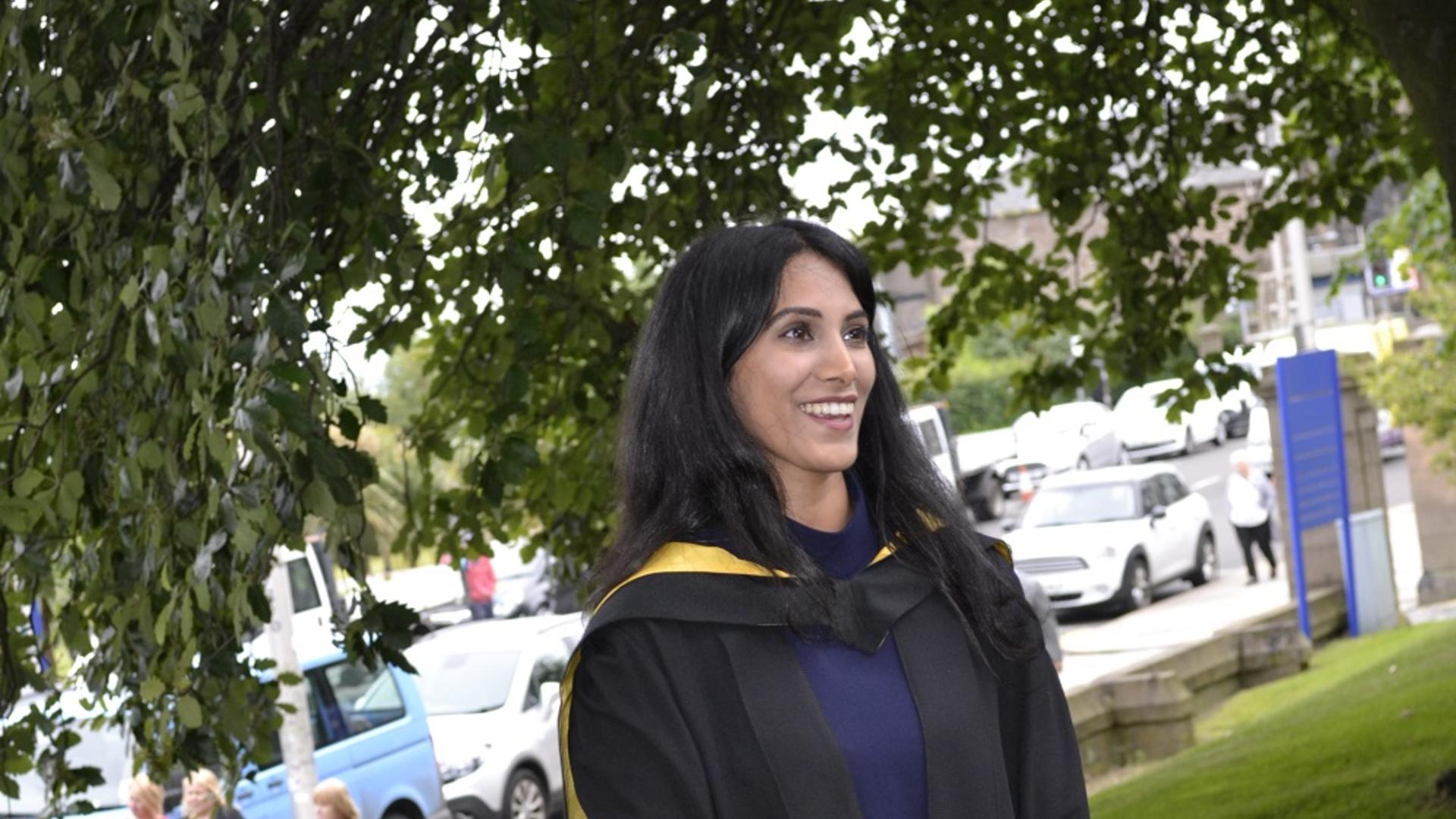Caron Dhillon in her graduation robes