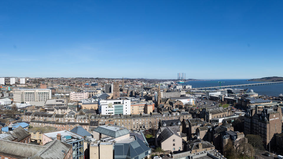 panoramic view over the city of Dundee